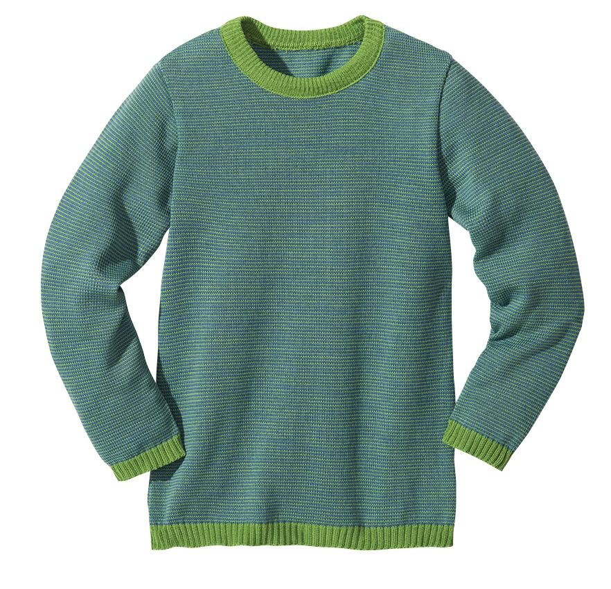 Disana Basic Kinder Pullover Schurwolle Grün Melange - Engelchen flieg d0bc0e8f8c