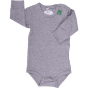 Green Cotton Baby Body 1/1 Arm Alfa Grau meliert