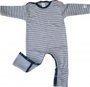 83bf281b5b Lilano Baby Overall Wolle/Seide Blau/Natur mit Umschlägen